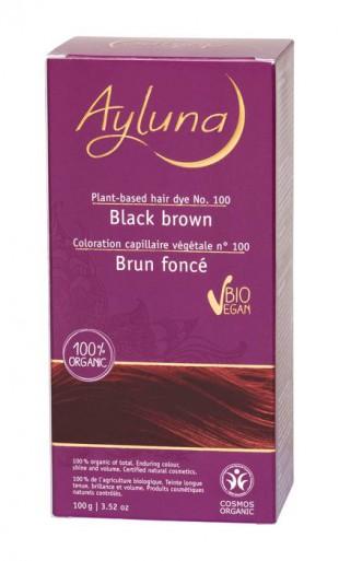АИЛУНА Краска для волос №100 «ЧЁРНО-КОРИЧНЕВЫЙ» растительная, краска  100 г